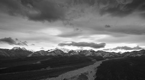 Black and White picture of mountains in Denali National Park