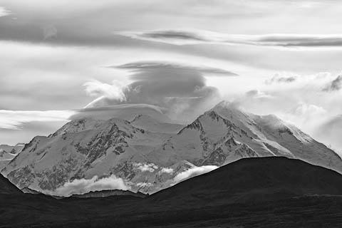 Black and White photo of Denali