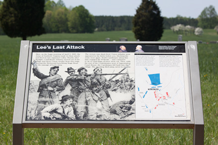 Sign showing last attack of the Army of Northern Virginia