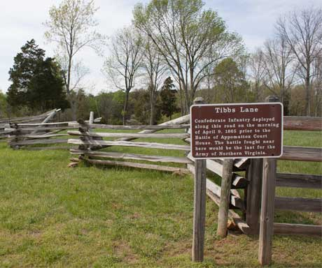 Tibbs Lane, site of last battle of the Aarmy of Northern Virginia