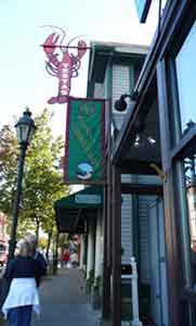 Restaurant sign showing lobster