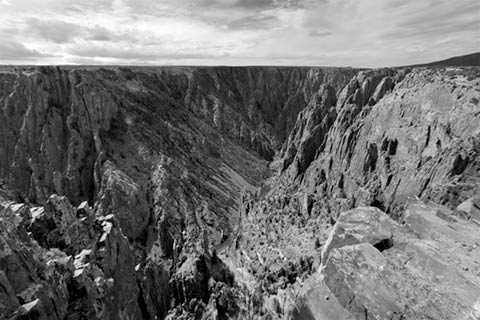 Black and White photo of Black Canyon of the Gunnison North Rim