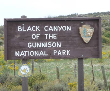 Sign showing Black Canyon of The Gunnison Nationla Park
