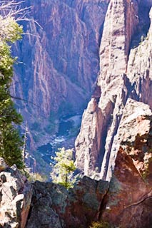 South Rim of the Black Canyon showing Gunnison River