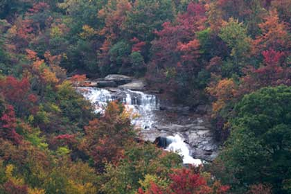 Waterfall and fall colors at Graveyard Fields