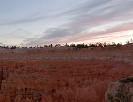 Twilight at Bryce Canyon New Moon is visible