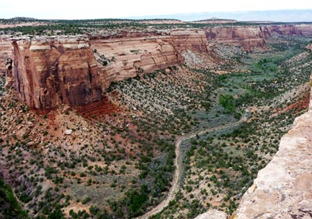 Road at base of cliffs in Colorado National Monument