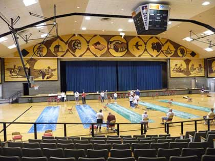 Interior of Corn Palace showing basketball floor