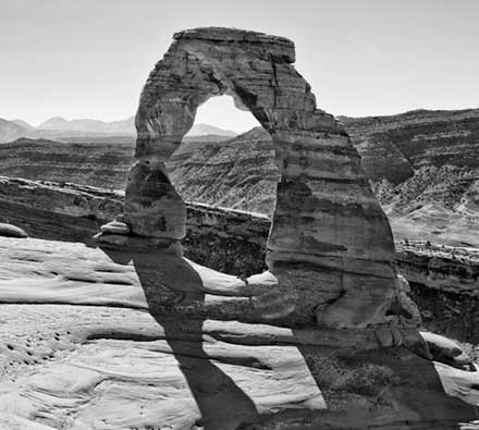 Black and white of Delicate Arch