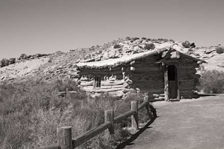 Black and White photo of old cabin at Wolfe Ranch