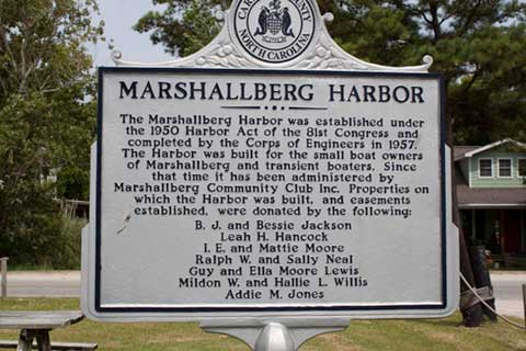 Sign about Marshallberg Harbor: 