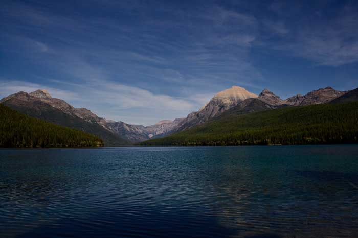 View from boat launch area Bowman Lake Montana
