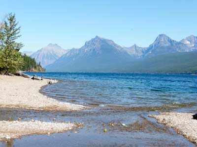Mountains and Lake McDonald from Fish Creek Campground