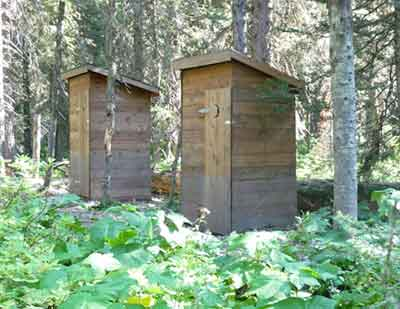 Pair of outhouses on Lake Grinnell Trail