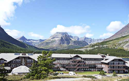 Many Glacier Lodge with Swiftcurrent Lake Glacier National Park