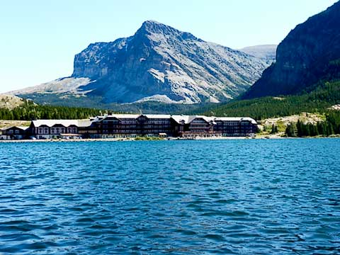 View of Many Glacier Lodge from boat launch