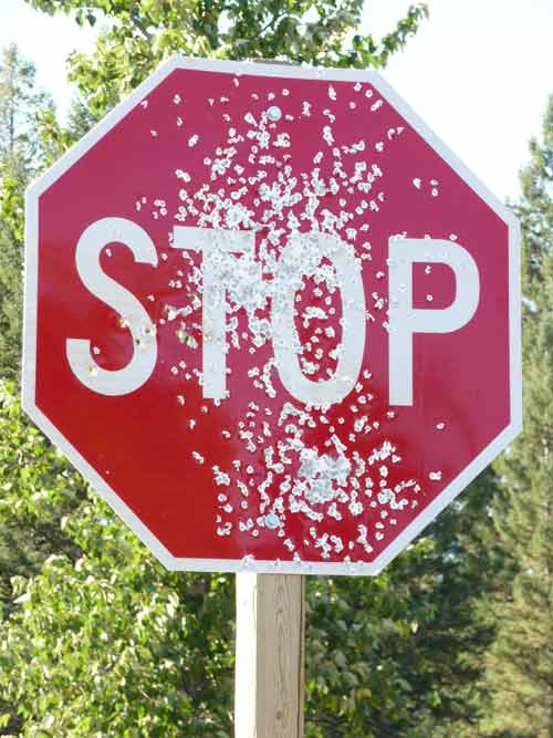 Target practice using stop sign