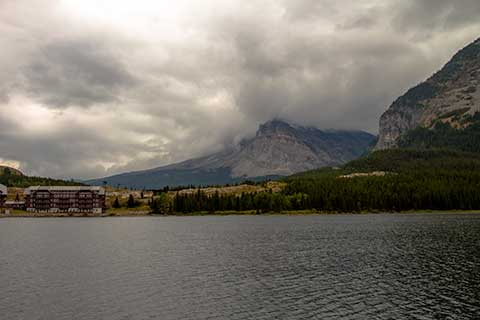 Many Glacier Lodge as viewed across Swift Current Lake