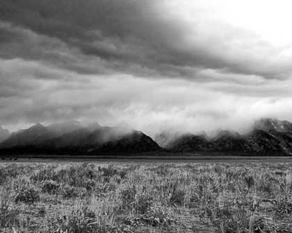 Black and White of view of Tetons from Gros Ventre