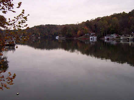 Lake Lure showing lake and low clouds