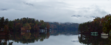 Lake Lure in fog