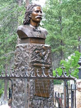 Bust of Wild Bill Hickok at his grave
