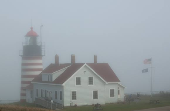 West Quoddy Lighthouse in fog