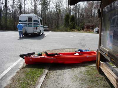 Our new Kayak Clem with the RV in the background