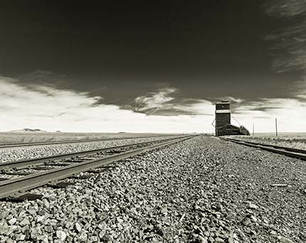 Black and White of Wooden Grain Elevator in Montana