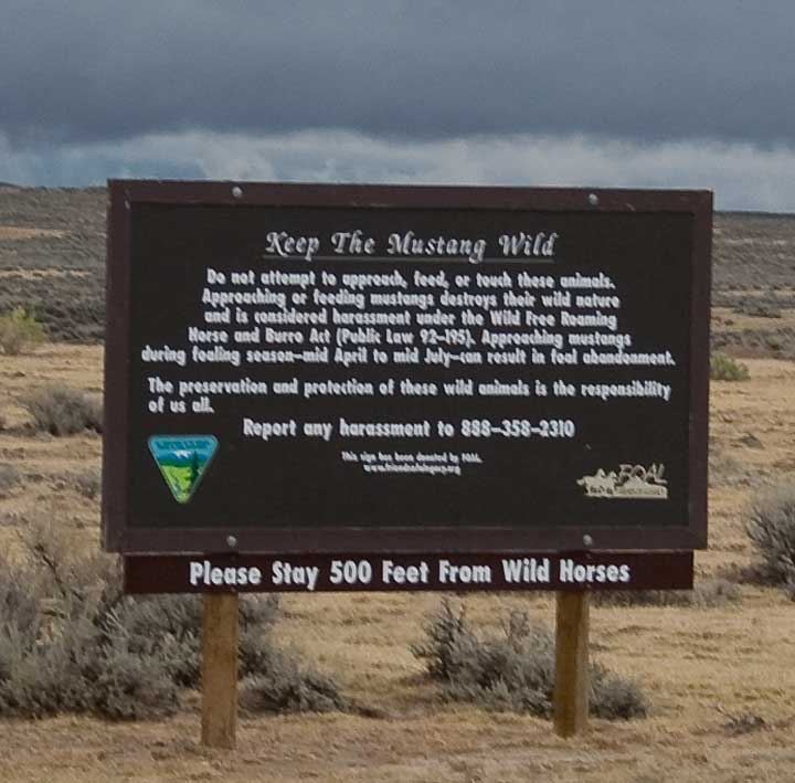 Sign about wild mustangs in Wyoming