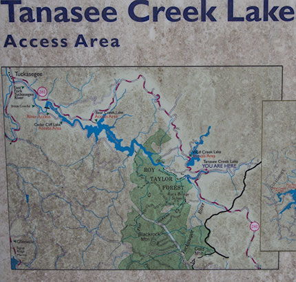 Map of Tanasee Creek Lake
