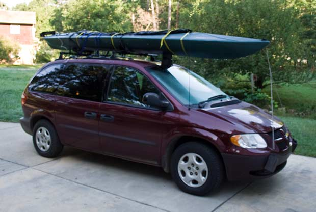 Kayak Nessie loaded on minvan