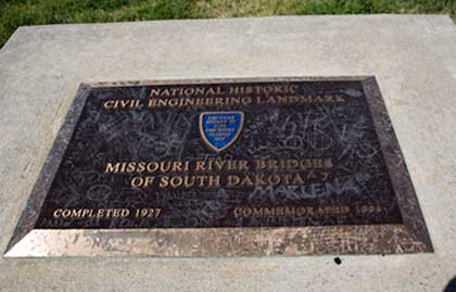 Historic Marker Commemorating Bridges across Missouri River in South Dakota.