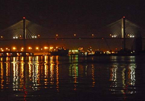Savannah Bridge and waterfront at night.