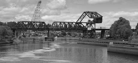 Black and White of Railroad Bridge on Sound Side of Ballard Locks