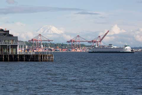 Seattle Waterfront with Mount Rainer in Background