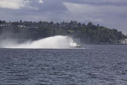 Tugboat spraying water