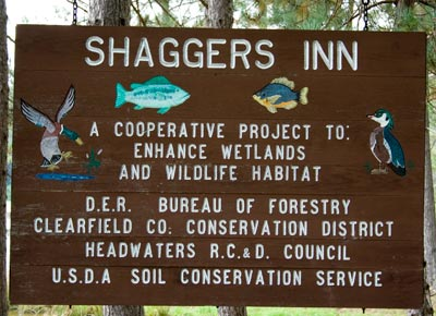 Sign at Shaggers Inn Pond Pennsylvania