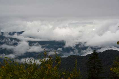 Low clouds covering Smoky Mountains