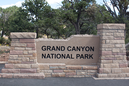 Sign saying Grand Canyon National Park