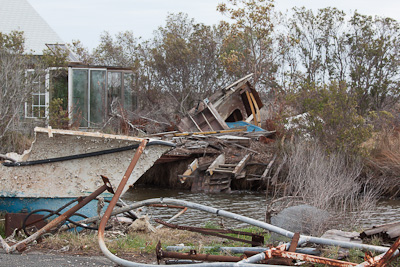 Badly damaged boats, Stumpy Point, North Carolina