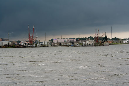 Storm clouds over docks at Swansboro, NC