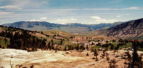 Yellowston Park Headquarters area from Mammoth Hot Springs