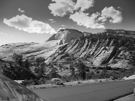 On the Zion Mount Carmel Road road  black and white photo