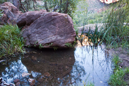 Middle Emerald Pool with red rock and green plants