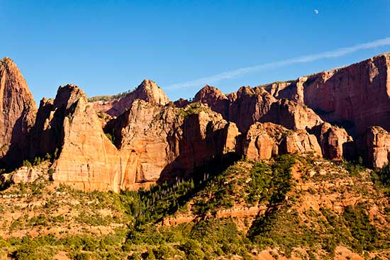 Kolab Canyons red rocks and moon Zion National
